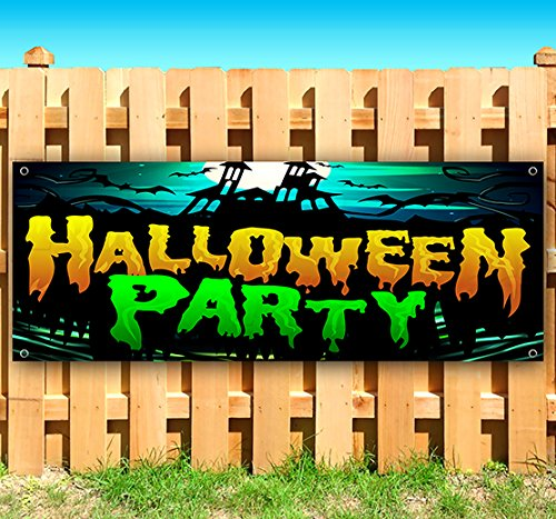 HALLOWEEN PARTY 13 oz heavy duty vinyl banner sign with metal grommets, new, store, advertising, flag, (many sizes (Halloween Stores Tampa)