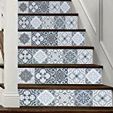 AmazingWall 18x100CM/7.1x39.4'' 6PCS/SET Traditional Mexican Talavera Tile Stair Sticker 3D Printing Removeable Waterproof Wallpaper Decor Home Decorations (grey)