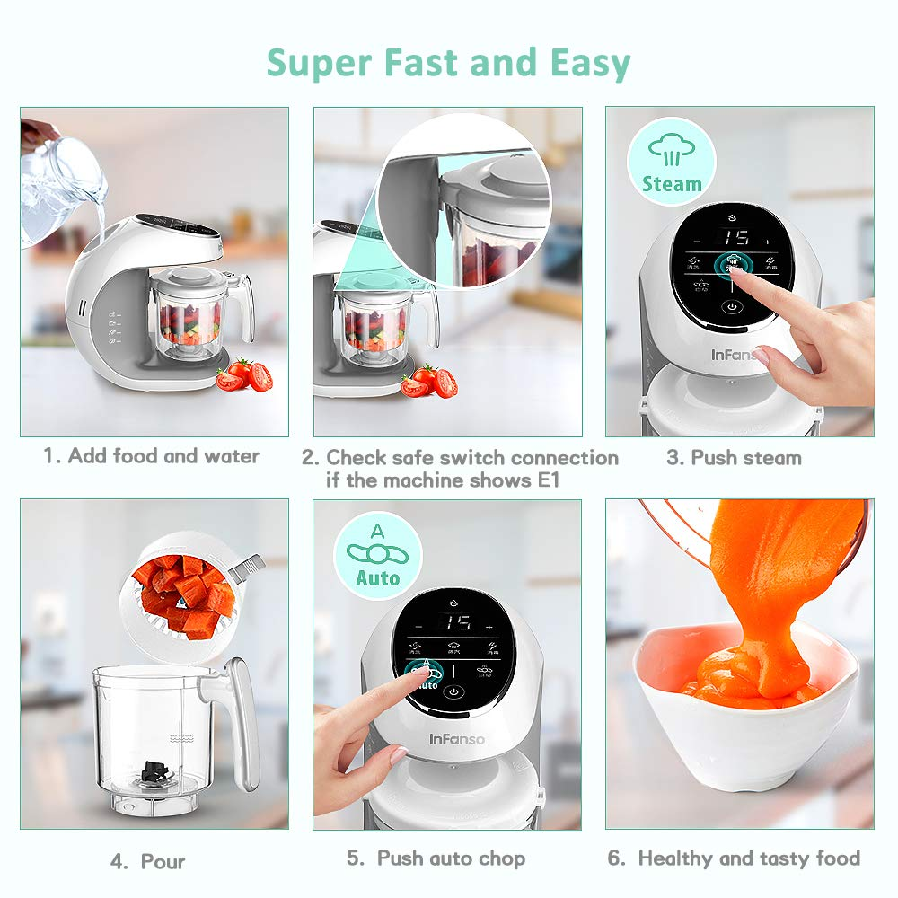 7 in 1 Organic Food Making Machine with Steam Cooker, Blender, Chopper, Defroster,..