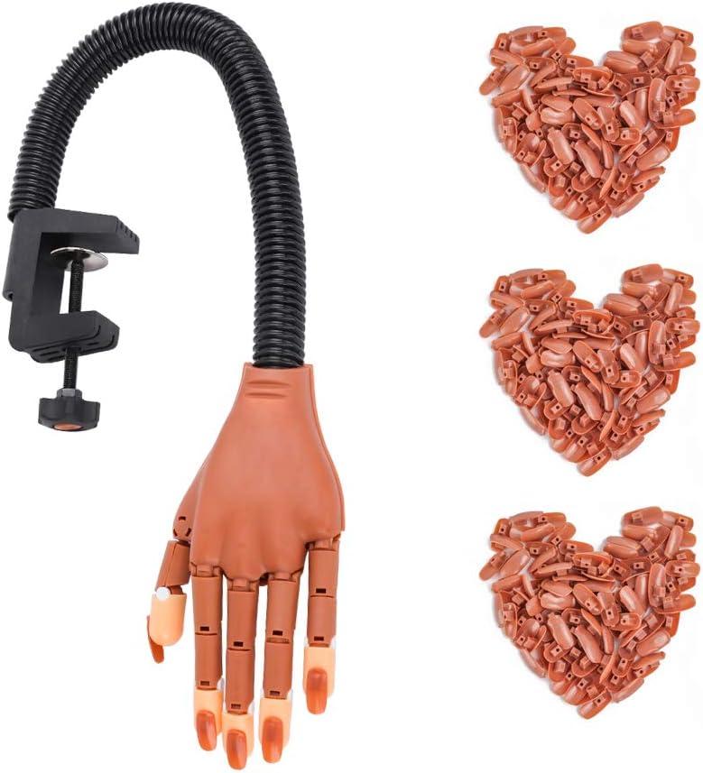 Deciniee - Mano de práctica para uñas postizas, 300 uñas para practicar, herramientas profesionales para manicura, mano falsa con dedos flexibles y ajustables para manicura