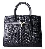 PIFUREN Women Top Handle Handbags Satchel Shoulder Tote Crocodile Bag E72130(35CM, 35cm Black)
