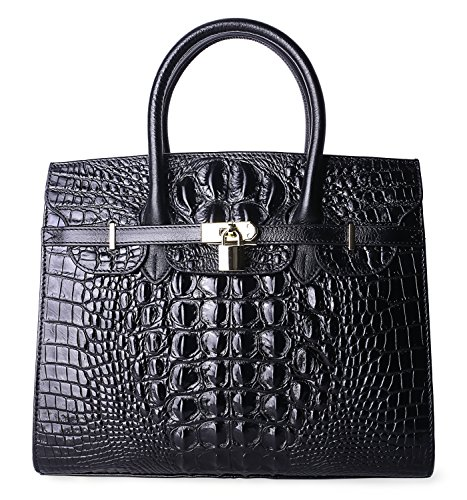 PIFUREN Women Top Handle Handbags Satchel Shoulder Tote Crocodile Bag E72130(35CM, 35cm Black) by PIFUREN