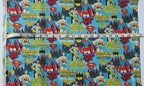 DC Comics Girl Power - Wonder Woman, Supergirl, Batgirl on Blue Background - 100% Cotton Fabric - Sold by the Yard]()