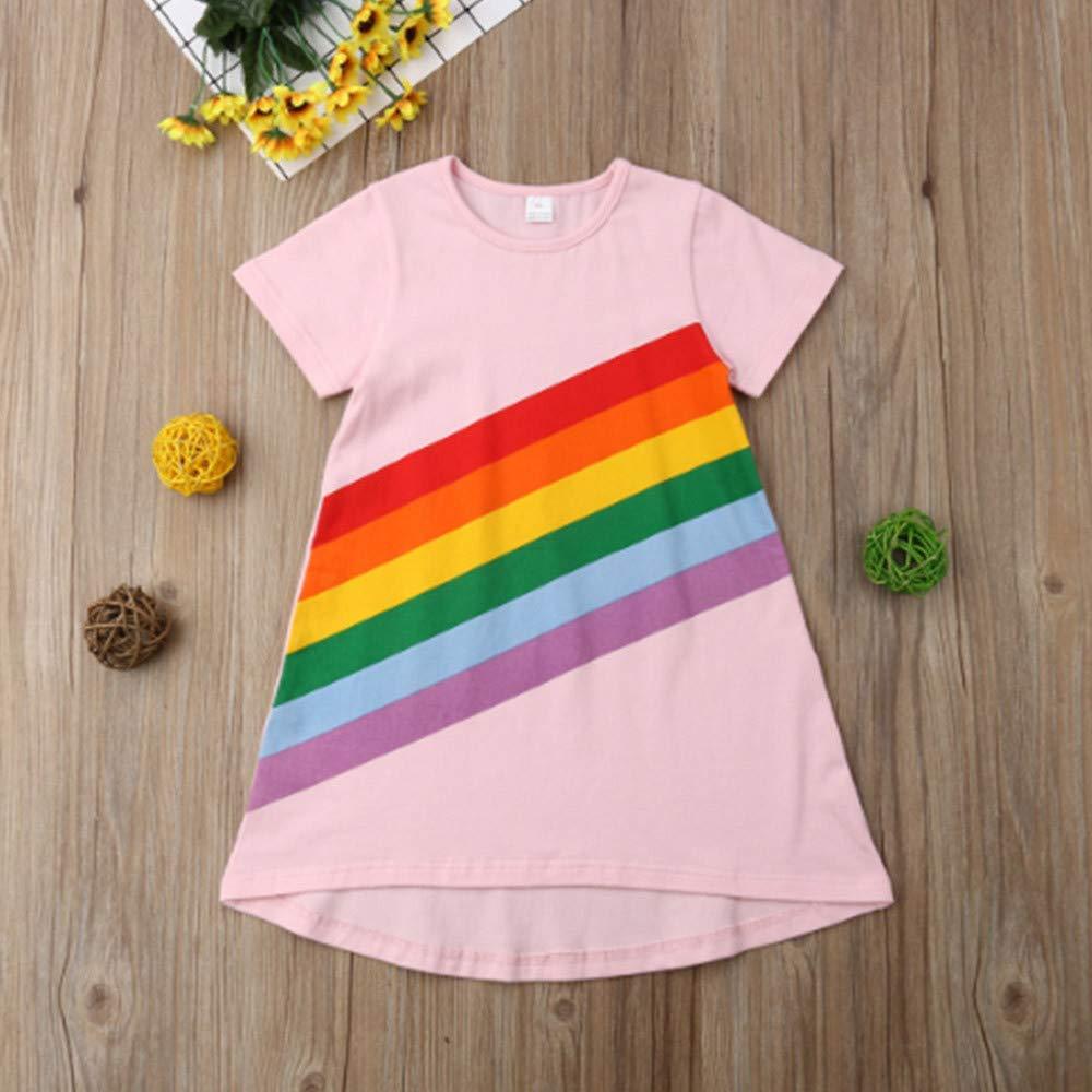 Toddler Kids Baby Girls Summer Dress Rainbow Stripe Print Princess Party Dresses