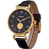 SURVAN WatchDesigner Swiss-Quartz Fashion Wrist Watch for Women Sapphire Mirror 18k Yellow Gold Ion-Plated Stainless Steel Ca