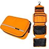 Hanging Toiletry Bag Waterproof, Jiemei Travel Wash Bag for Men & Women with 4 Compartments, Foldable Compact Size, High Quality Zipper, 2 Pack Portable Coat Hangers as Gift (Orange)