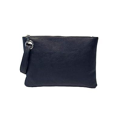 9ef2b0a46cb ZOONAI Oversized Clutch Bag Purse, Womens Large leather Evening Wristlet  Handbag (Black)(