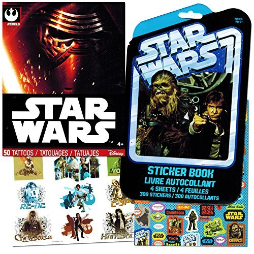 Classic Star Wars Tattoos and Stickers Party Favor Pack (50 Temporary Tattoos and 300 (Star Wars Tattoos)