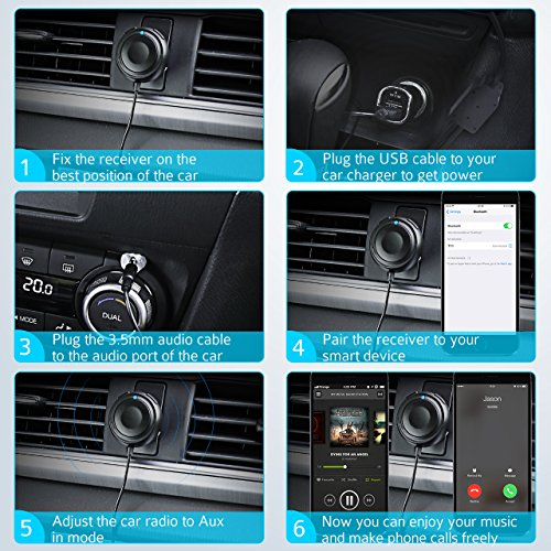 Mpow Bluetooth Receiver with Built-in Noise Isolator, Hands-Free Car Kits/Bluetooth Audio Adapter, Music Receiver with Magnetic Mounts for Car Audio System with 3.5mm Aux Input Jack (G-2 for MBR2) by Mpow (Image #6)