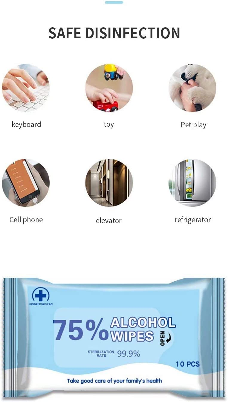 100pcs Wipes 75/% Alcohol Wet Wipes Disinfectant Wipes Portable Hand Alcohol Wipes Towel for Antiseptic Skin Cleaning Care for Office,car,Home,Hotel