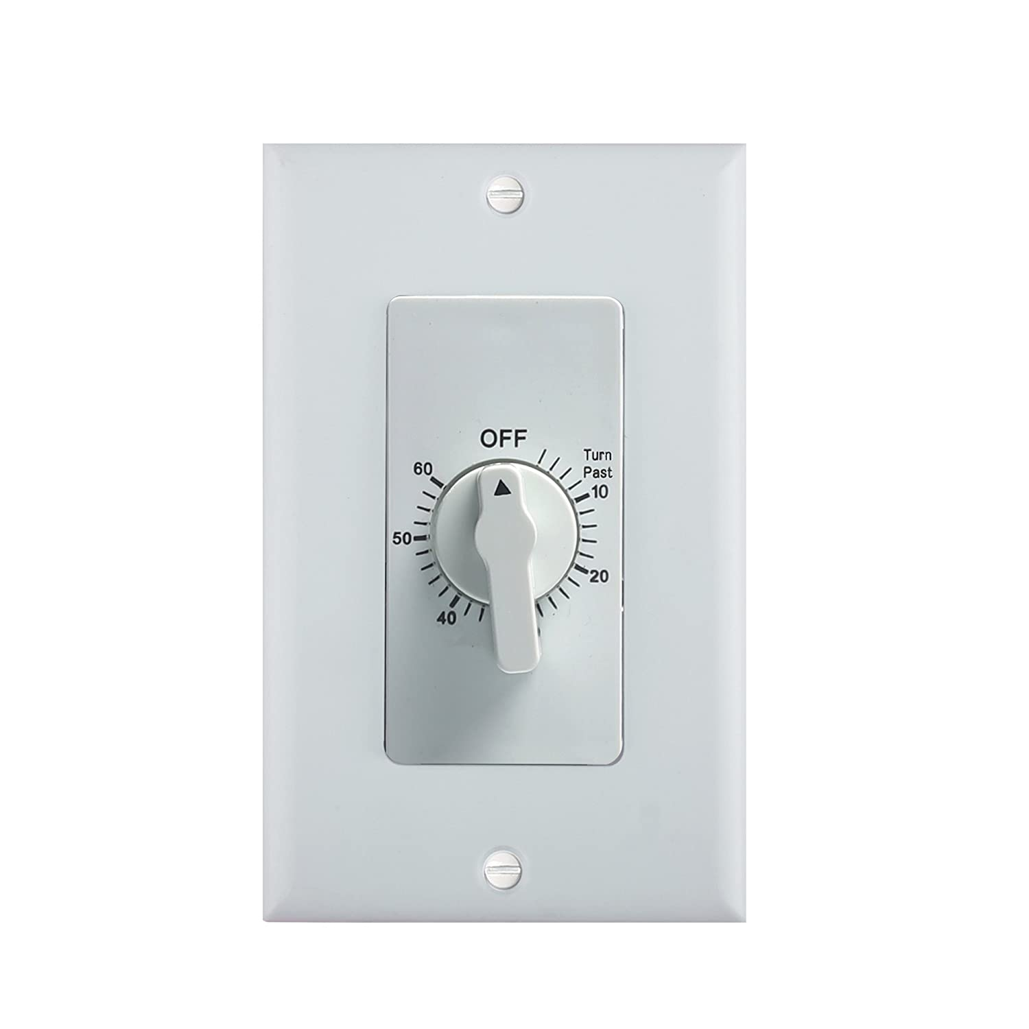 Century Heavy Duty 60-Minute In-Wall Spring Loaded Countdown Timer, Mechanical Switch, 2 Free Plate (White and Silver Metallic)