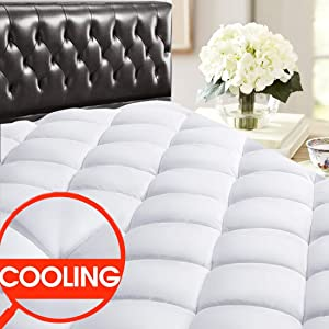 "SOPAT Full Mattress Pad Topper - 400 Thread Count Cooling Pillow Top Plush Mattress Cover Reversible Quilted Fitted Mattress Protector with 8-21"" Deep Pocket for All Season"