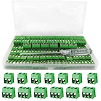 YIXISI 100 piezas Bloque de terminales de tornillo conectores de bloque de terminal de tornillo de montaje de 2P/3P PCB…