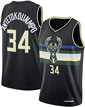 GRYUEN Hombre Mujer Ropa de Baloncesto Milwaukee Bucks 34 ...