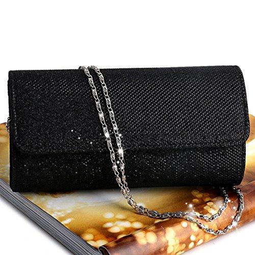 Party Handbag Evening JAGENIE Women's Black Bridal Wedding Envelope Silver Bag Clutch Shoulder Prom FHwUqOwg