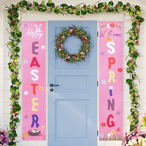 Auihiay Easter Porch Sign - Happy Easter & Welcome Spring - Easter Decorations Banner for Outdoor Indoor Porch Wall Party Favor Ornament
