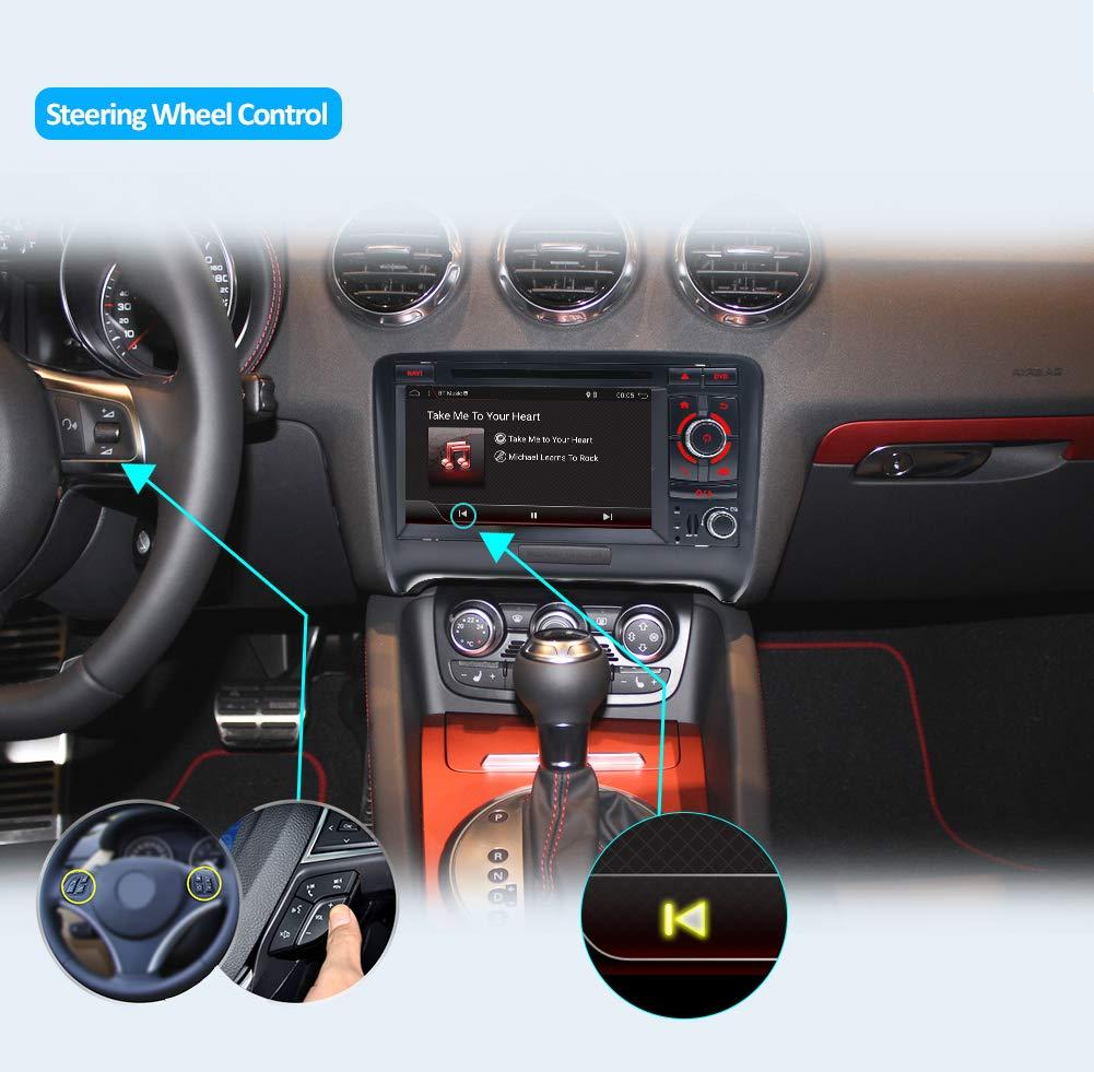 Autoradio Double Din Voiture St/ér/éo pour Audi TT 2006-2011 Android 8.1 HD 7 Pouces 2G RAM+32G ROM Voiture GPS Navigation Unit/é de t/ête Support WiFi 4G Bluetooth Volant Google Gratuite Cam/éra /& Canbus