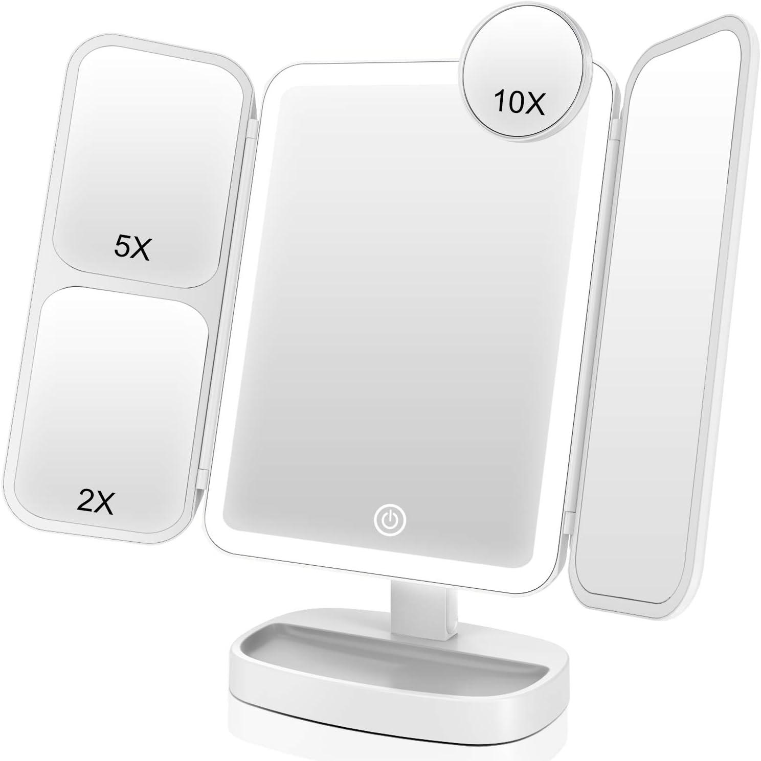 Espejo De Maquillaje Triple Pliegue Con 38 Luces Led blanco