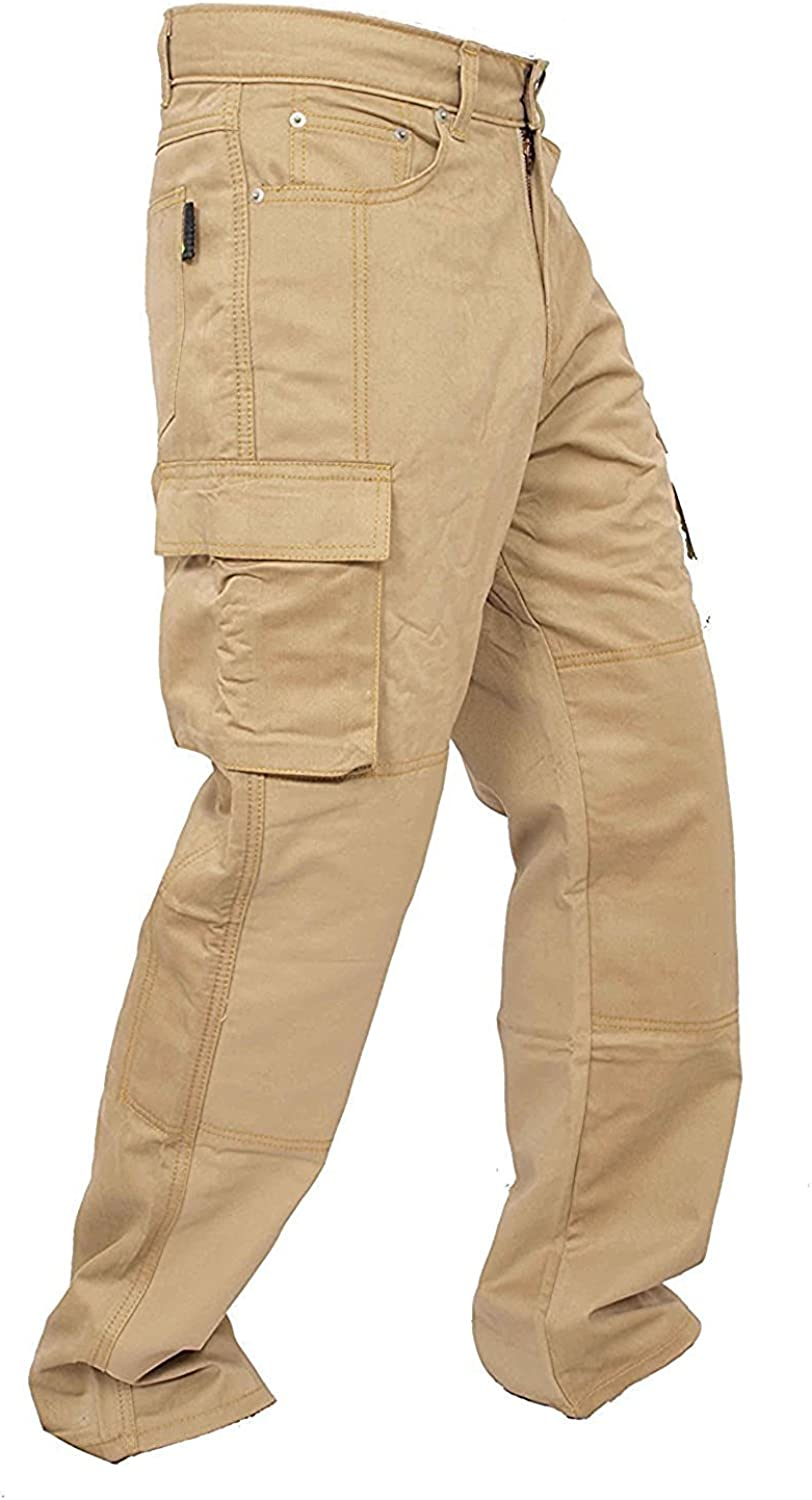 Mens Denim Protective Motorcycle Motorbike Trouser Jeans Cargo with Aramid Protection Lining