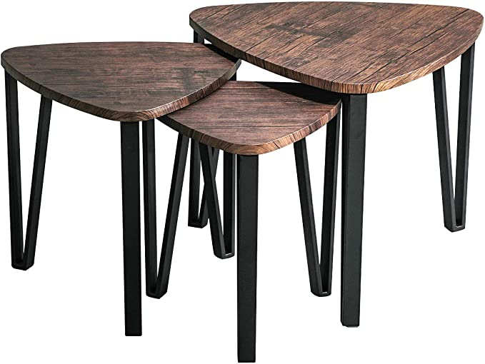 Tidyard Modern Nesting Coffee Table Living Room End Side Tables Solid Pinewood Black Set of 2