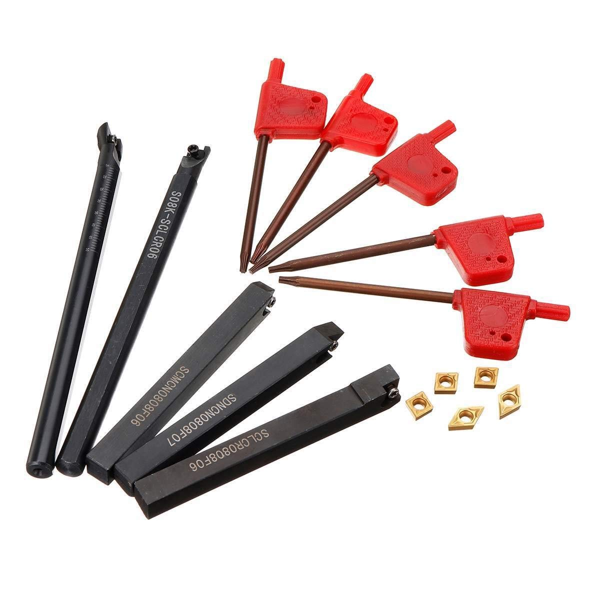 FMN-JC tama/ño : 8mm Soporte de Herramienta de torneado de Torno indexable de v/ástago de 5 Piezas de 8 mm con Insertos de carburo CCMT060204 DCMT070204 for m/áquina CNC