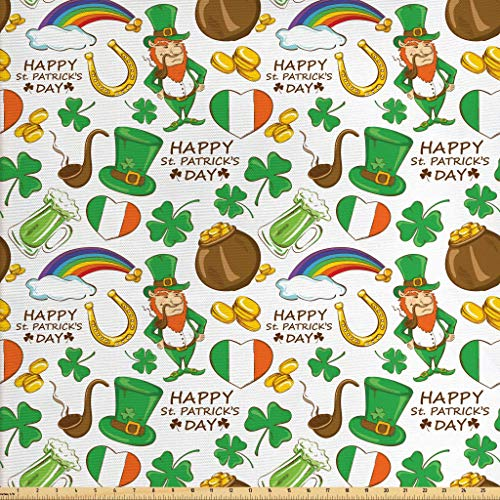 Ambesonne St. Patrick's Day Fabric by The Yard, Irish Party Pattern Beer Leprechaun Flag Hearts Rainbow Gold Shamrock, Decorative Fabric for Upholstery and Home Accents, 1 Yard, Multicolor