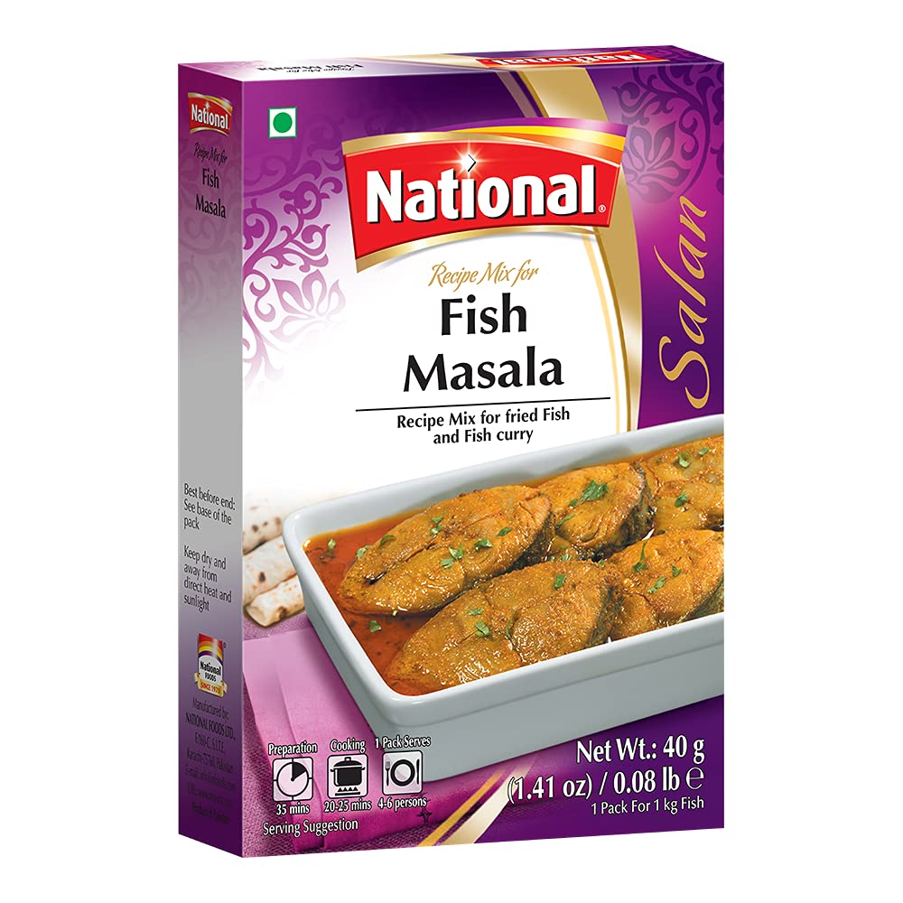 National Foods Fish Masala Recipe Mix 1.41 oz (40g)   Traditional Curry Spice Powder   Essential South Asian Dish   Stir Fry Seasoning Food   Box Pack