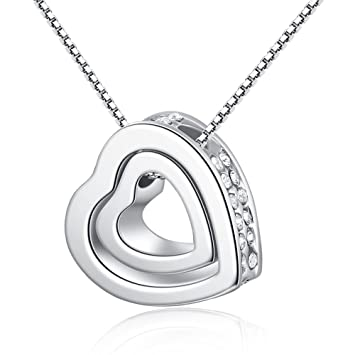 f2f0a6822486e Epoch World Crystal Love Heart Pendant Silver Necklace Women, Double Heart  Necklaces Ladies, Comes in Gift Box