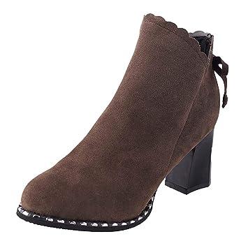 Logobeing Botines Mujer Tacon Invierno Planos Tacon Ancho Piel Botas de Mujer Medio Zapatos Combat Casual Planas Zapatos de Plataforma-5577(35,Marrón): ...