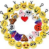 "Valys 24Pcs 2"" Emoji Plush Pillows Mini Keychain Decorations,Emoticon Pillow,Keychain Decorations,Kids Supplies,Party Favors for Kids"