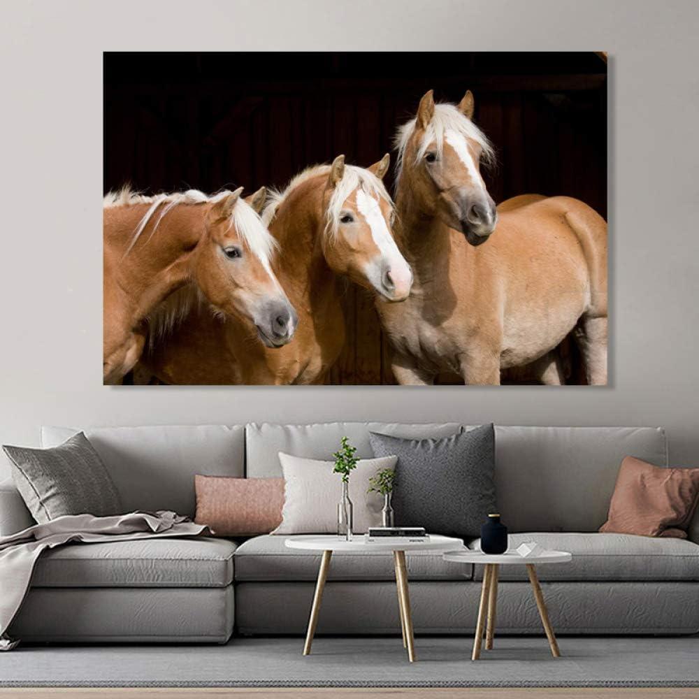 QWESFX Animales modernos Carteles e impresiones Arte de la pared Pintura de la lona Tres caballos Cabeza Imágenes para la sala Cuadros Decoración E 60x120cm