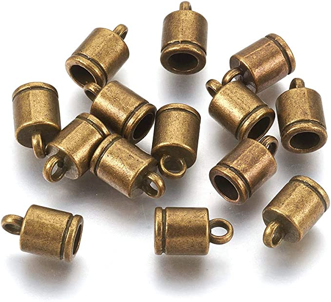10 OR 100 Gold Plated Brass Cord End Caps 8x6mm with Hole to String on End