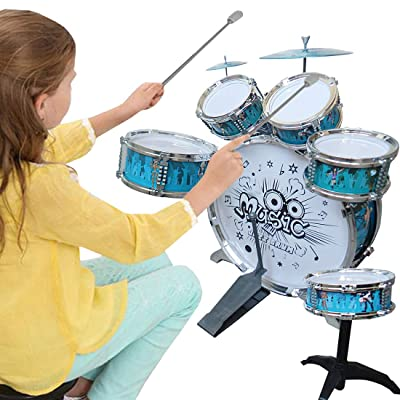NiGHT LiONS TECH Kid Jazz Drum Rock Set with blue Drums 6 Drums, 2 Cymbal, Chair, Pedal & 2 Drumsticks kit, Educational toy Music party Big Band Drum Percussion toy to Stimulating girl boys Creativity: Musical Instruments