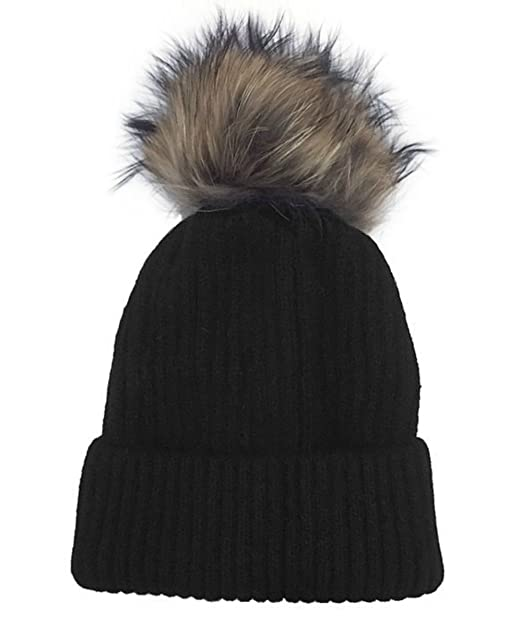deca2f253fb99 Image Unavailable. Image not available for. Color  Linda Richards Luxury  Ribbed Knit Genuine Fur Pom Pom Hat ...