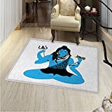 Yoga Customize Floor mats for home Mat Mythical Oriental Asian Figure in Yoga Pose Faith Belief Symbol Avatar of Universe Art Oriental Floor and Carpets 36''x48'' Blue Black