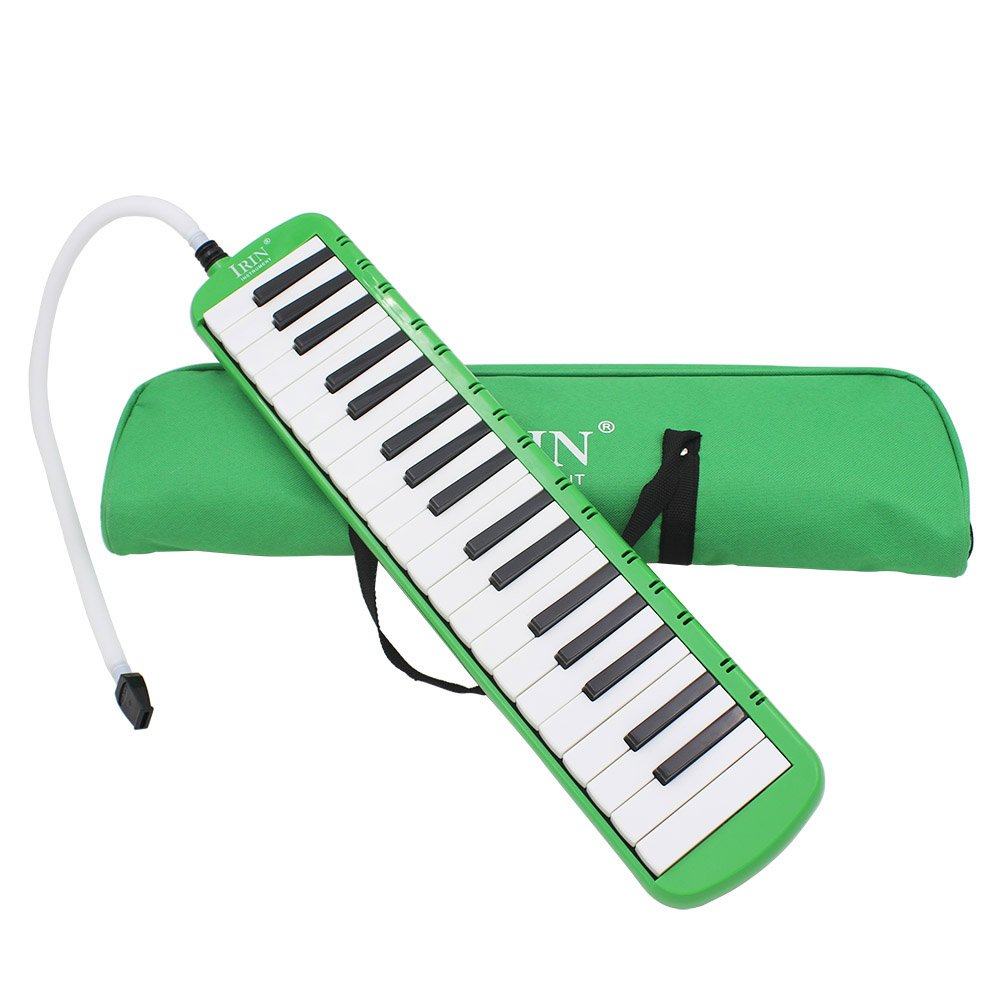 IRIN 37 Keys Melodica Musical Instrument for Music Lovers Gift with Carrying Bag (Green)