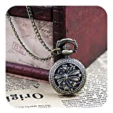 Palfashion Vintage Jewelry Pocket Watch with Carved Dragonfly Design Pendant Necklace with Free Jewelry Pouch