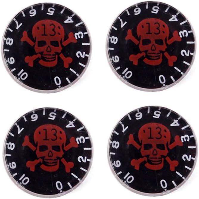 nero rosso Artibetter 4 pezzi manopole per chitarra con Skull Pattern Speed Volume manopole di controllo tono per parti di ricambio chitarra elettrica