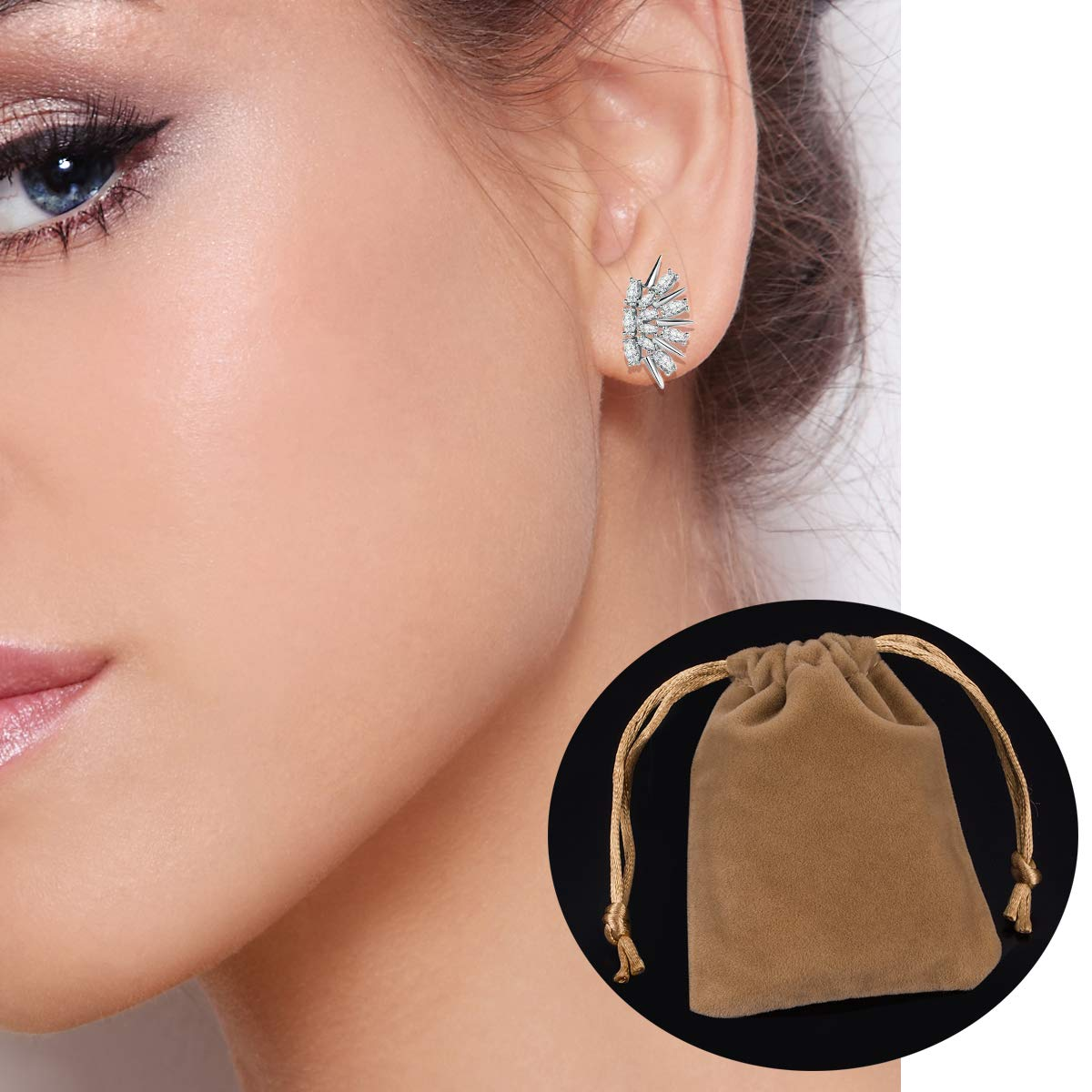 Cubic Zirconia Stud Earrings for Women Hypoallergenic for Sensiive Ears