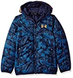 Under Armour Outerwear Youth Boys Cold Gear Reactor Hooded Jacket, Midnight Navy/Magma Orange, Large