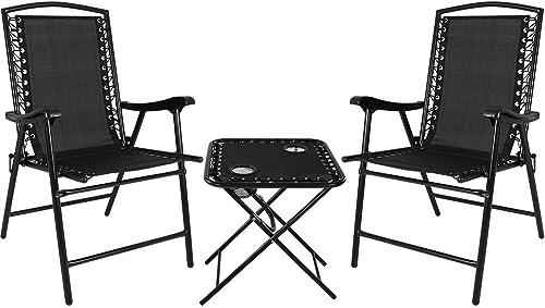Sunnydaze Folding Suspension Outdoor Lounge Chair Set 2 Lawn Chair