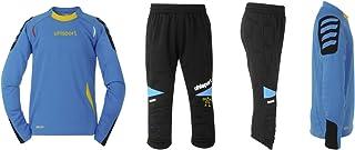Uhlsport Set maglietta e pantaloncini a maniche EM GK per bambini facciamo Was, Bambini, Shirt & Longshort EM GK-Set Wir Tun Was, cyan/schwarz, XXS 100553701
