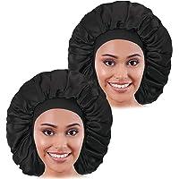 2 st stor satinhätta, Raibaubl silkeshätta med elastiskt mjukt band, stor sovmössa för kvinnor hårvård, jumbo hätta för…