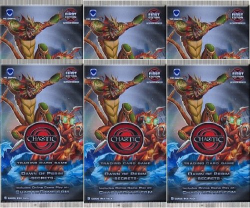 Chaotic DAWN OF PERIM SECRETS Trading Card Game Booster - 6 PACK LOT (9 Cards/Pack)