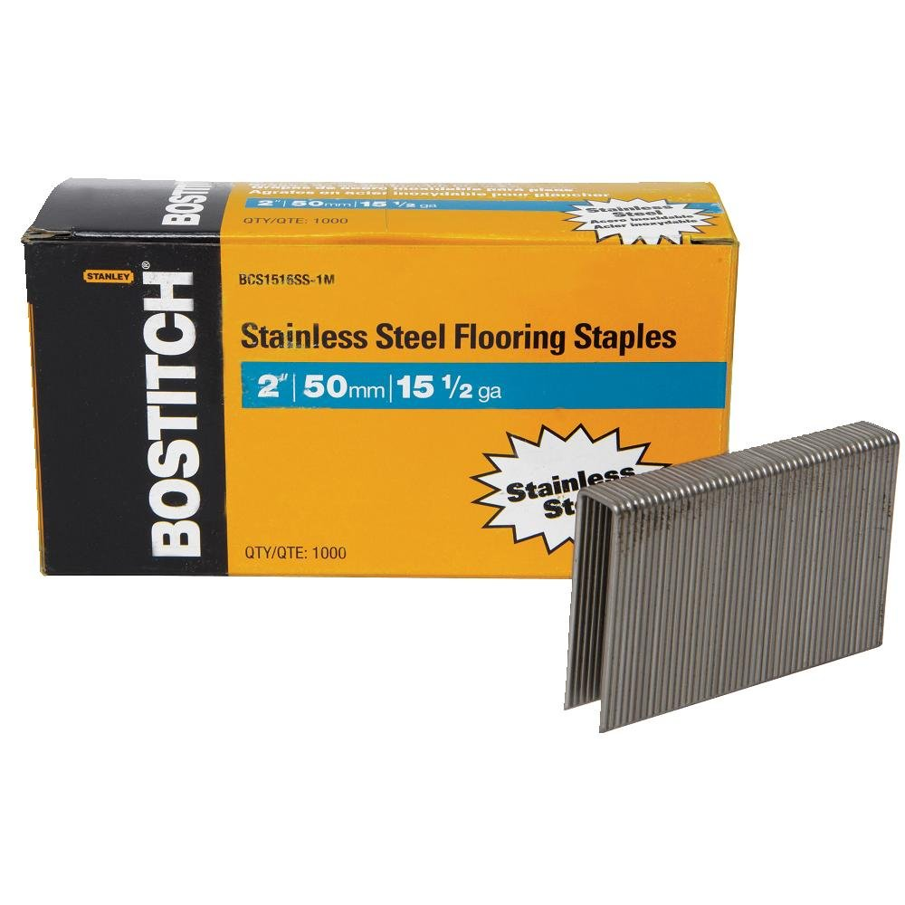 BOSTITCH BCS1516SS-1M 15-1/2 Gauge Stainless Steel Flooring Staple (Pack of 1000) by BOSTITCH