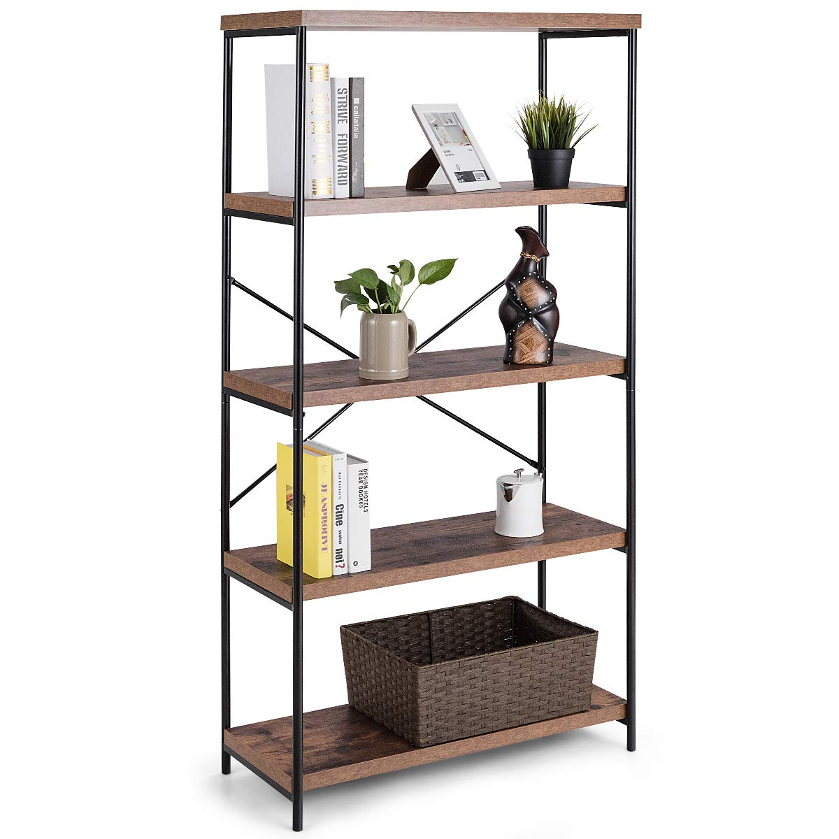 Tangkula 4-Tier Bookcase, Multipurpose Rustic Industrial Bookshelf, Décor Accent for Home, Office, Living Room, Bedroom, Wood Shelves w/Metal X-Shaped Frame, Display Bookshelf (Brown)