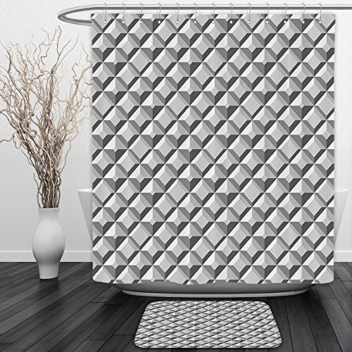 Vipsung Shower Curtain And Ground MatGeometric Metal Cell Industrial Dimensional Futuristic Digital Featured Artistic Print GreyShower Curtain Set with Bath Mats Rugs - Horse Print Duck Tape