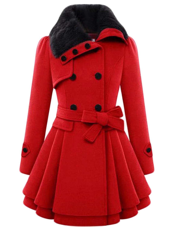 Binn Women Fashion Faux Fur Hood Double-breasted Wool Trench Coat
