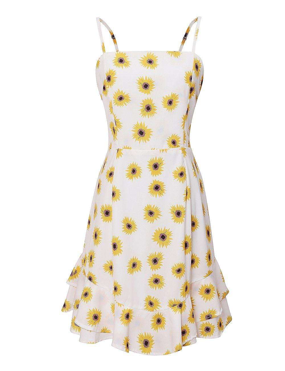 Yellow colorful House Women Backless Bowknot Spaghetti Strap Short Beach Mini Dress