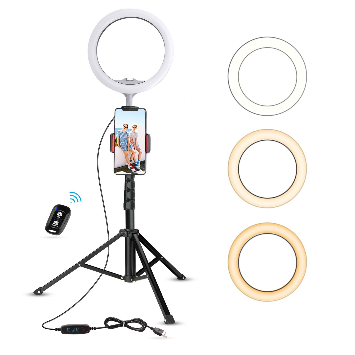 UBeesize 10.2'' Selfie Ring Light with Tripod Stand & Cell Phone Holder for Live Stream/Makeup, Mini Led Camera Ringlight for YouTube Video/Photography Compatible with iPhone Android (Upgraded) by UBeesize